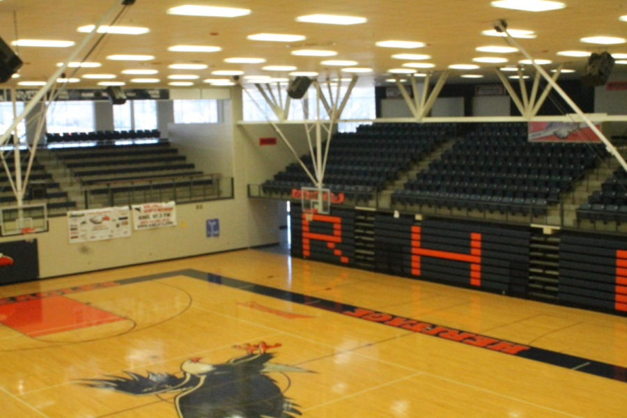 The empty gym after the cancellation of the pep rally