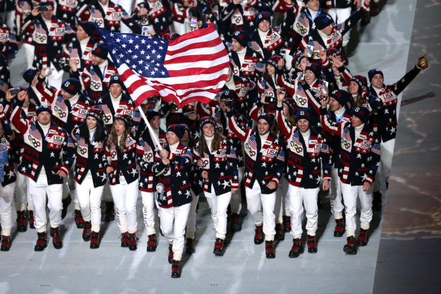 Team+USA+during+the+opening+ceremony+of+the+2014+Winter+Olympics+in+Sochi.+