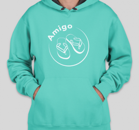 "A teal blue hoodie with ""Amigo"" and a pair of flip flops"