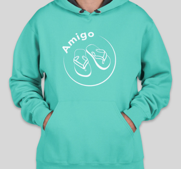 A teal blue hoodie with